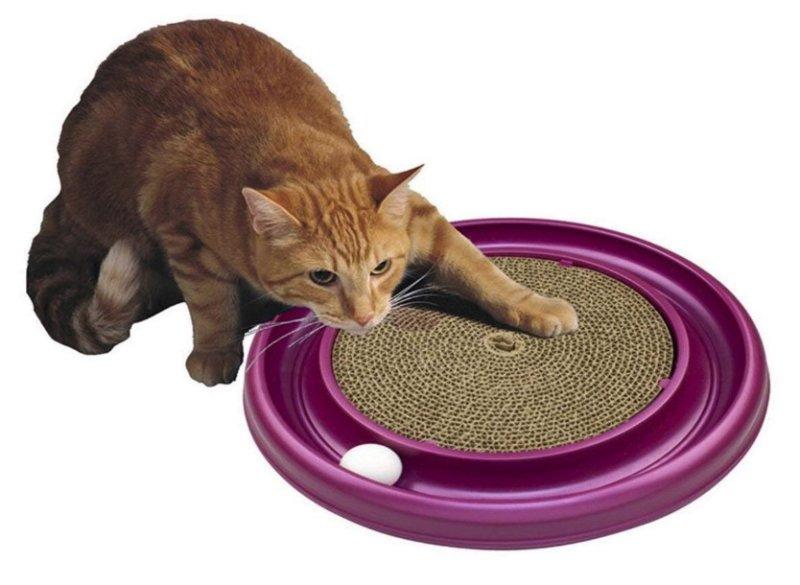 猫 おもちゃ ボールディスク アミューズメントプレート 爪とぎ用パッド ねこのおもちゃ